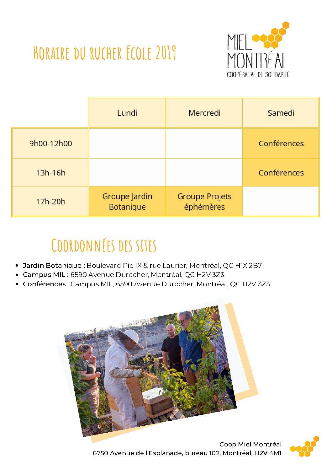 Horaire Rucher École de Miel Montréal, à Montréal, formation apiculture